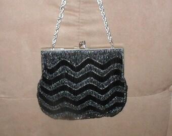 Vintage Graphite Color Beaded Evening Bag Purse
