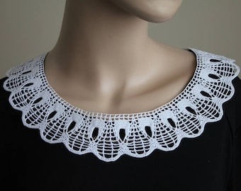 cotton collar, handmade crochet collar, neck accessory, white lace collar, crochet collars, white collar, vintage style collar