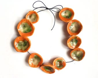 Yellow floral beads, pottery flower beads, large handmade beads