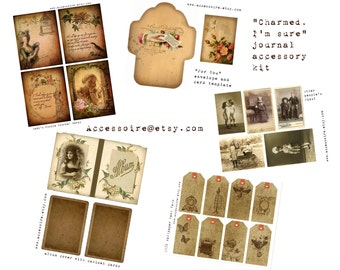 Digital Vintage Journal Ephemera Kit - Charmed, Im sure - Perfect for journals, cards, mixed media, scrapbooking (5 digital images)