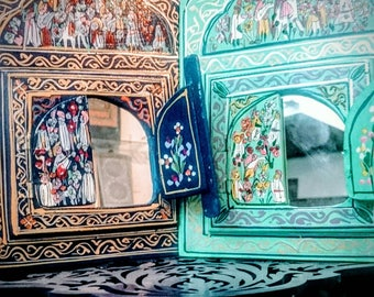 Small wooden mirror painted patterned Moroccan (Morocco mirror)