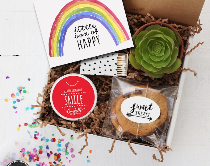 Little Box of Happy Gift Box - Thinking of You Gift | Smile Candle | Friend Gift | Get Well Gift | Best Friend Gift | Celebration Gift