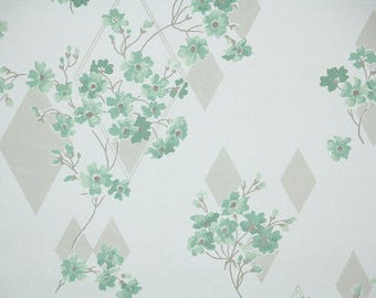 1940s Vintage Wallpaper by the Yard - Green and White Floral with Diamond Geometric