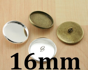 SEW  On BUTTON Bezel Blanks (10), 16mm SEALS (10 or 20), Glass (10). Pick your supplies, Silver or Bronze. Photo Craft