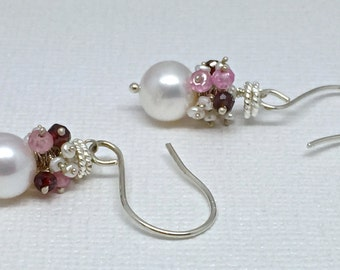 Pearl cluster earrings Pink Topaz garnet baby white pearls luminescent sterling silver twisted rings red handmade genuine unique