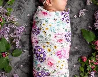 Floral baby blanket, stretch wrap, newborn swaddle set, breastfeeding cover, baby shower gift set, hospital blanket, receiving blanket