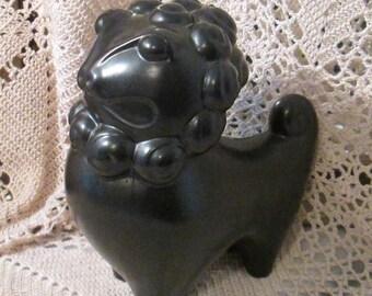Vintage Black Modern Pottery Foo Dog