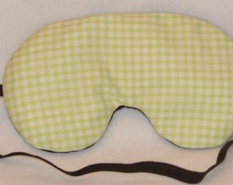 Handmade Lime Gingham Sleep Eye Mask Blindfold Hen Stag Blackout Migraine Relief
