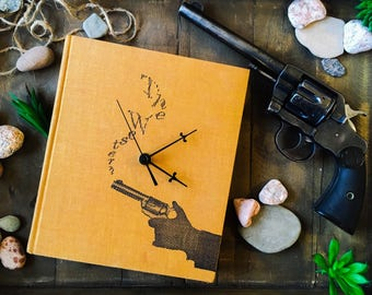 Book Clock, The Western//Cowboy//movies//Gift for western lovers//Yellow clock