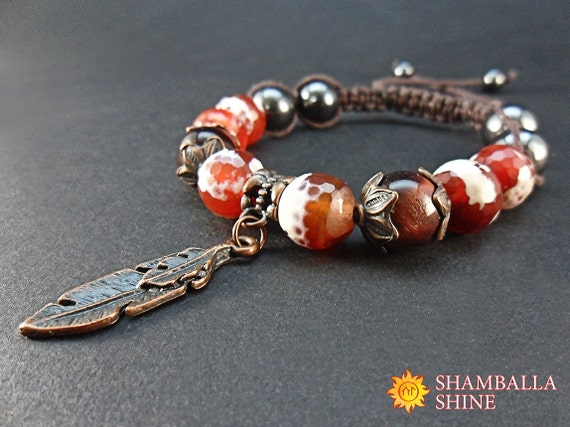 Agate quartz bracelet macrame brown bracelet orange brown te gusta este artculo aloadofball Images