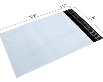 200 Bags Houselabels 7.5X10.5 White Poly Mailers 2.35 Mil thick Self Seal Waterproof Envelope Shipping Bags