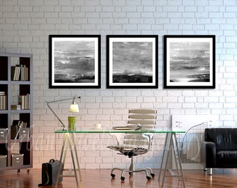 Abstract Art Print SET OF THREE Digital Download 3 Piece Art Modern Art Contemporary Painting Black and White Gray Wall Decor Printable Art