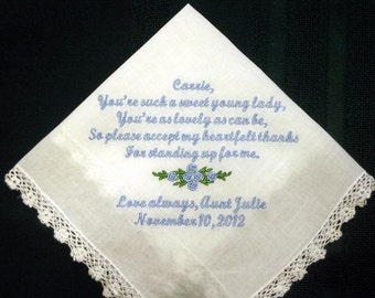 Personalized wedding handkerchief hanky hankie for your Junior Bridesmaid or flower girl with Gift Box 138S