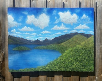 On the way to Glenorchy. Original acrylic painting. Landscape painting on a recycled canvas. Large painting.  Nature painting. Lake.