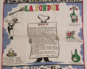 Vintage La Fondue Chef Menu Hankie