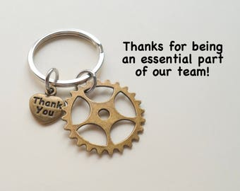 Employee Appreciation Gift Keychain, Bronze Gear Charm Keychain, Employee Gift, Coworker Gift, Work Team Gift, Thank you Gift, Teacher Gift