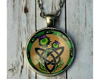 Celtic with trinity knot and thistle pendant