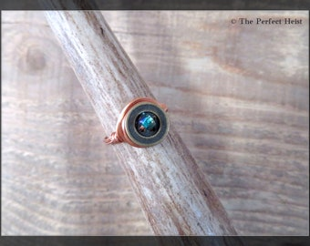 Ring, Copper, Blue, Brown, Earthy, Size 9, Large Rings