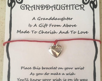 Granddaughter, card, wish bracelet, charm, bracelet, gift, to cherish and love, quote, various charms and colours