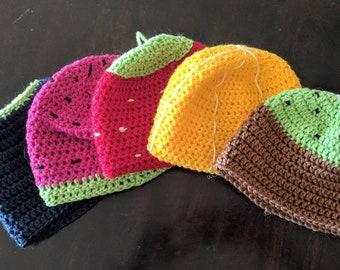 Kids crochet fruit hats
