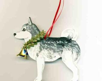 Hand-Painted SIBERIAN HUSKY GREY Wood Christmas Ornament...Artist Original, Christmas Tree Ornament Decoration