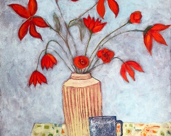 Acrylic painting still life floral on paper original unframed red flowers in vase w teacup