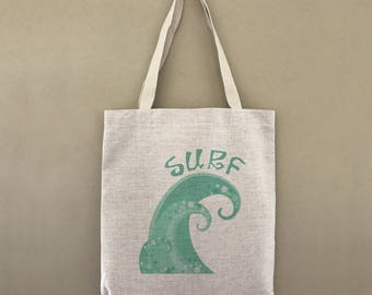 Custom Tote Bag Surf Wave Customizable Personalized Gift For Her Gift For Him Tropical Surfing Beach Ocean Farmers Market Shopping Bulk