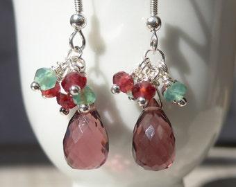 Wine Quartz Earrings, Holiday Earrings, Tear Drop Earrings, Red Quartz Earrings, Purple Quartz Earrings
