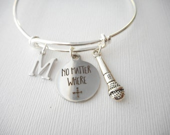 Microphone, No Matter Where- Initial Bangle/ sister quote, Gift Idea, Big Sis, Big Sister Bracelet, girl gift, personalized bracelet