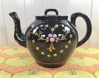 Antique Victorian Black Teapot Blackware /Jackfield Gold Hand Painted Enameled