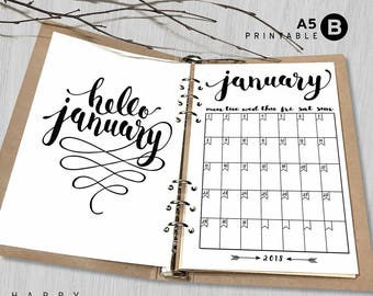 Printable 2018 Monthly Planner, Hello 2018 A5 Monthly Planner, A5 2018 Monthly planner inserts, PDF file