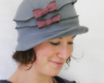 Organic Flapper Cloche - Ladies Hat - Grey Organic Cotton and Hemp Jersey - Purple Bows - Emma Rose