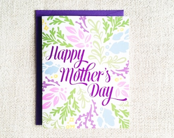 Mothers Day Card, Card for Mom, Floral, Flowers, Hand Illustrated, Mothers Day, Notecard, Greeting Card, Mom, Happy Mothers Day, Purple