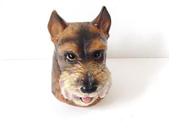 Vintage Dog Vase - Inarco Head Vase - Vintage Schnauzer - Terrier - Ceramic Dog