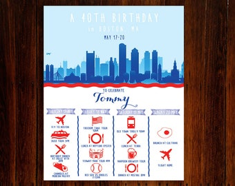 Bachelorette or Bachelor Party Invitation & Itinerary, Boston Massachusetts Weekend Trip Schedule Downloadable Custom Printable File!