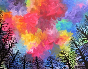 Fairytale Forest (16x20 Acrylic on Canvas) | Home Decor, Large Painting, Abstract, Impressionism, Rainbow, Trees, Landscape, Original Art