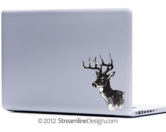 Detailed Deer Vinyl Laptop or Automotive Art FREE SHIPPING, deer hunting dear hunter gifts for hunters deer laptop sticker deer head buck