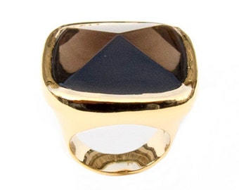 Ring with Smoky Quartz, Size 7.75