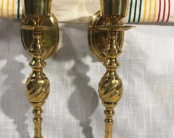Beautiful Vintage Brass Wall SCONCES CANDLE STICKHOLDERS