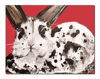Spots Rabbit , Christmas Bunny Art Print Holiday red by Laura Sue