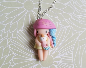 Necklace little girl collection Unicorn (yellow dress)