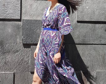 Crep Poncho with Butterfly sleeve, crep printed kaftan, long poncho