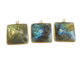 Labradorite Square Pendant- 21mm Square with Gold Over Sterling Silver Bezel Charm Pendant (S67B8-08)
