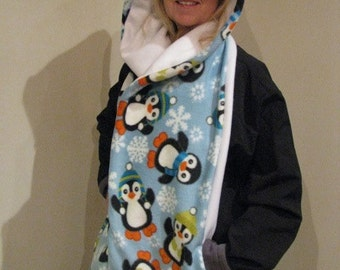 Christmas Penguin Hooded Scarf with pockets