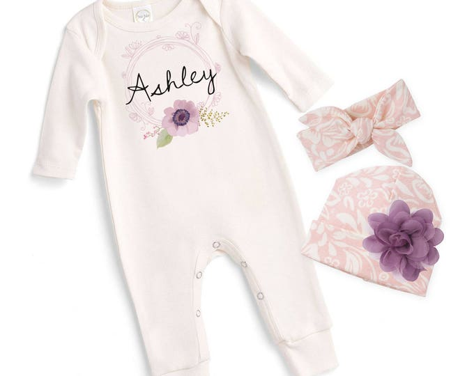 Personalized Newborn Girl Coming Home Outfit, Newborn Girl Outfit, Baby Girl Take Home Romper, Baby Name Outfit Tesababe
