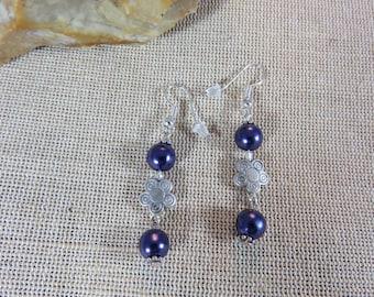 Earrings, purple jewelry, jewelry, women earrings, pearl purple, metal, women, Bohemian jewelry earrings Flower Earrings