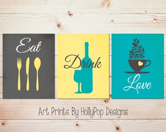 Teal Gray Kitchen Decor Modern Print Set Eat Drink Love Fork Spoon Knife Dining Room Art Quotes Wall 1621