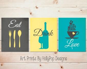 Teal Gray Kitchen Decor Modern Kitchen Print Set Eat Drink Love Fork Spoon  Knife Dining Room Gallery