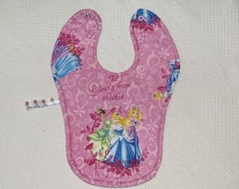 Princesses Tiana, Cinderella, Rapunzle Bib binky holder