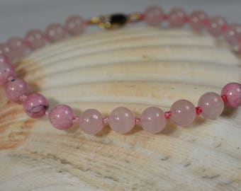 Rose Quartz and Rhodochrosite Mala Bracelet, Knotted Beads Bracelet,  Bead Bracelets